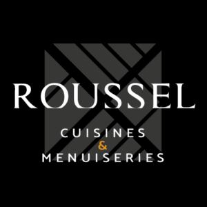 LOGO ROUSSEL CUISINES & MENUISERIES CARRÉ FD NOIR