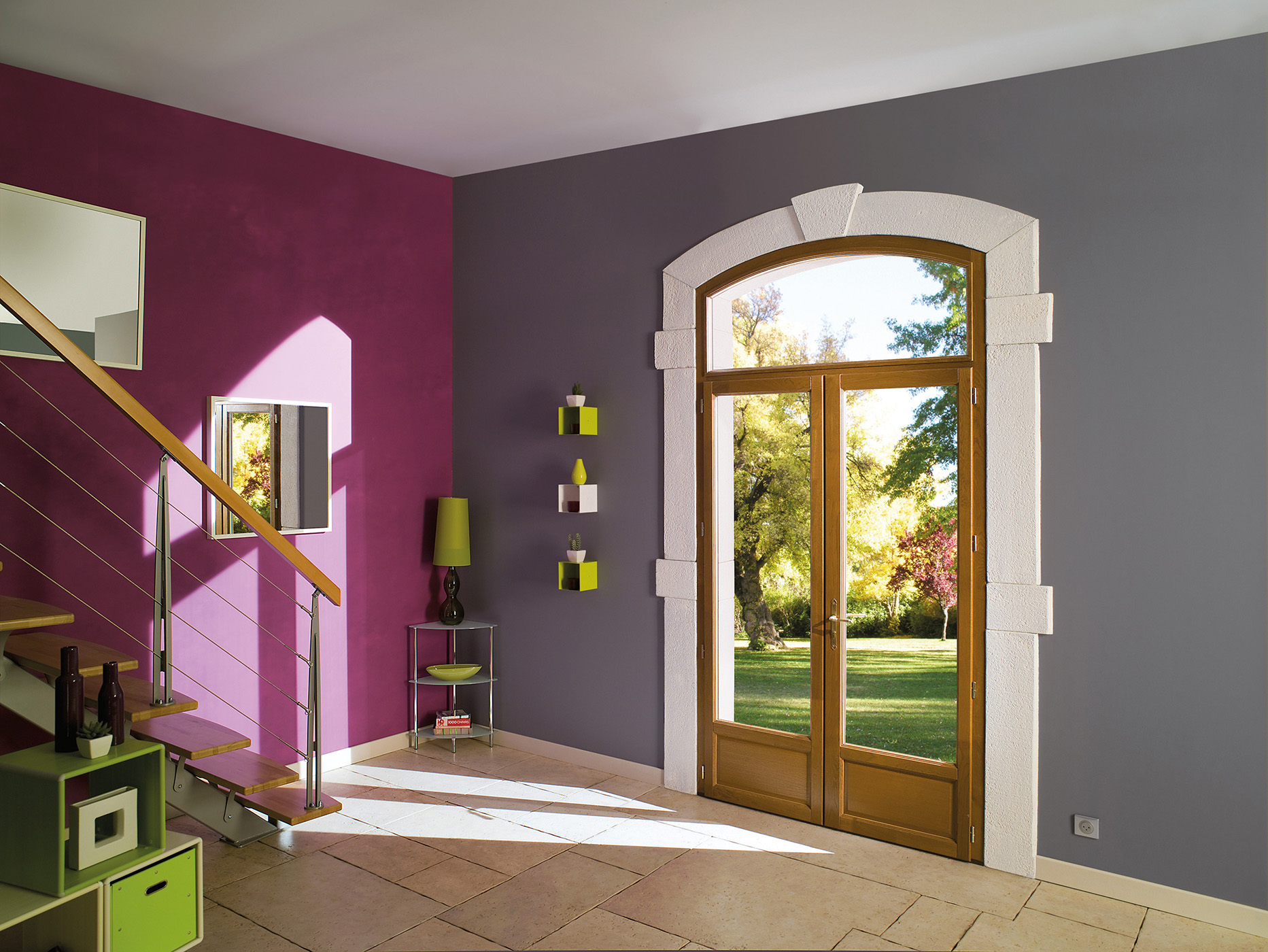 Porte vitrée bois gris rose vert